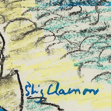 Stig claesson, pastell, signerad.