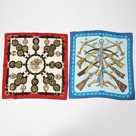 HermÈs, two silk scarves, 'cuivreries' & 'diane'.