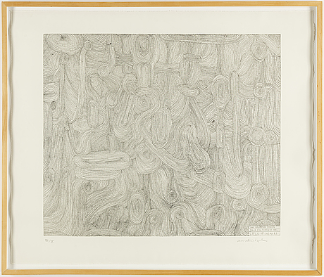 Olav christopher jenssen, etching. signed and numbered vii/x.