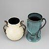 Eva jancke bjÖrk, two ceramic vases, bo fajans, gefle, sweden.
