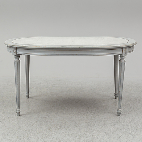 A dining table and four chairs, gustavian style, late 20th century.