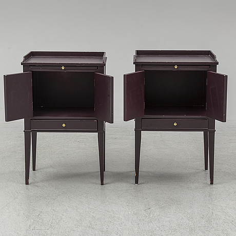 A pair of gustavian style bedside tables, late 20th century.
