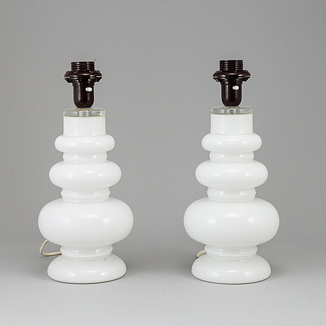 Per-olof strÖm, a pair of glass table lamps, 1960's.