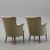 Axel einar hjorth, attributed to. a pair of easy chairs from aski a.b. svenska kontorsmöbelindustrier, 1940's.
