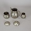 A three piece pewter coffee service from firma svenskt tenn in stockholm 1928.