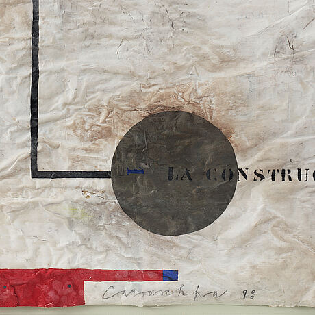 Carouschka streijffert, mixed media and collage on cardboard, signed and dated 98.