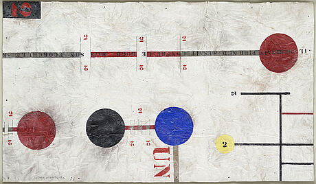 Carouschka streijffert, blandteknik och collage på kartong, signerad och daterad 98.