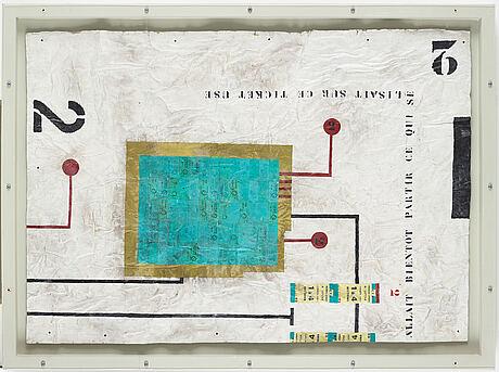 Carouschka streijffert, mixed media and collage on cardboard.