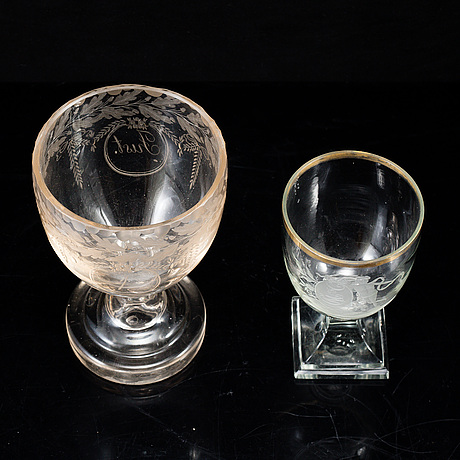 Two late gustavian glasses, circa 1800.