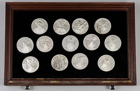 """Samlarmedaljer, 50 st, sterlingsilver, """"rembrandt i silver"""", franklin mint ab, 1974."""