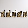 A set of five russian parcel-gilt tea glass holders with niello, sovietunion marks.