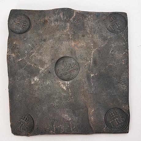 A swedish copper plate, 4 daler silfver mynt, fredrik i 1738.