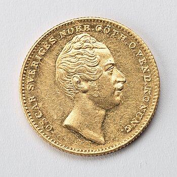 GULDMYNT, 2 dukater, Oscar I av Sverige och Norge, 1857.