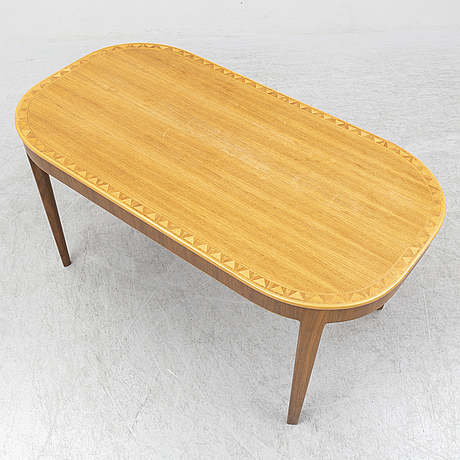 Carl malmsten, a walnut veneered inlay coffee table, probably 1940's.