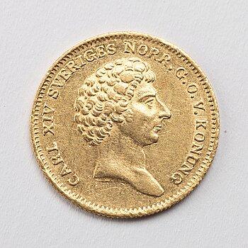 A gold 1 ducat coin Karl XIV Johan of Sweden, 1832.