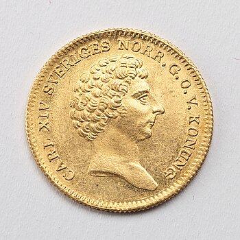 A gold 1 ducat coin Karl XIV Johan of Sweden, 1835.