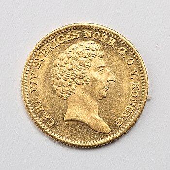A gold 1 ducat coin Karl XIV Johan of Sweden, 1841.