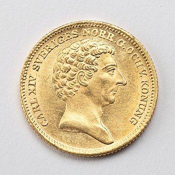 A gold 2 ducat coin Karl XIV Johan of Sweden, 1843.