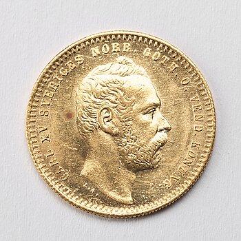 GULDMYNT, 1 Dukat, Karl XV av Sverige och Norge, 1865.