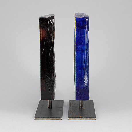 Kjell engman, two glass sculptures, kosta boda, signed.