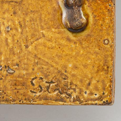 Stig lindberg, relief, stoneware, gustavsberg. signed.