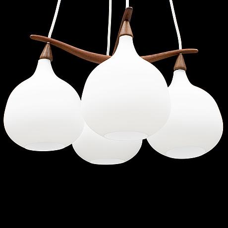 Uno & Östen kristiansson, a luxus teak ceiling light, 1950's/60's.