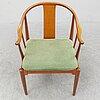 Hans j wegner, a cherry wood china chair from fritz hansen, denmark, 1991.