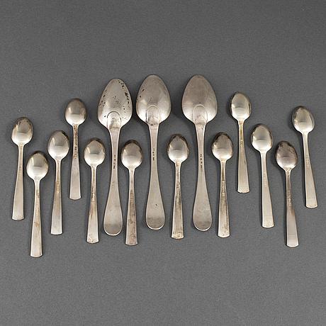 3+12 silver spoons, some 'rosenholm' gab stockholm 1968.