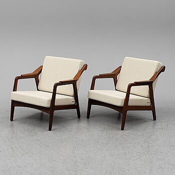 H Brockmann-Petersen, a pair of Danish teak easy chairs, 1950's/60's.