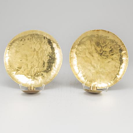 Karl-erik torssell, a pair of brass wall sconces,  signed torssell.
