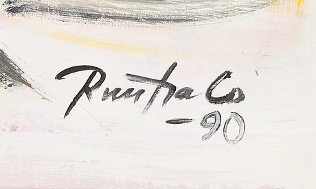 Eino ruutsalo, akryyli kankaalle, signeerattu ja päivätty -90.
