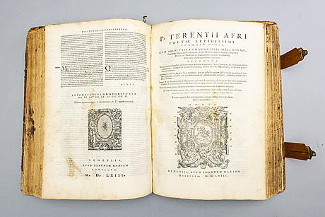 Bok - två titlar i ett band,  marcus tullius cicero 1563 & p terentii 1558, båda venedig.