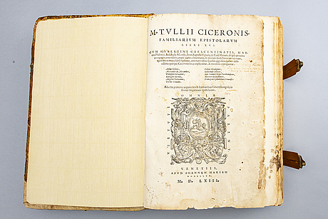 Book- two titles in one volume, marcus tullius cicero 1563 & p terentii 1558, both venice.