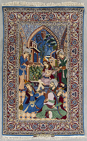 An old/semiantique isfahan part silk signed carpet ca 160 x 107 cm.