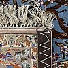 An old /semiantique opart silk isfahan carpet ca 172 x 112 cm.