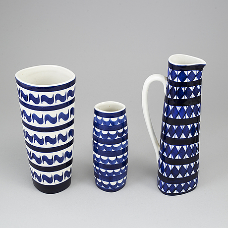 Karin bjÖrquist, a set of four vases, a pitcher and a bowl, 'indigo', gustavsberg studio, sweden 1952-53.