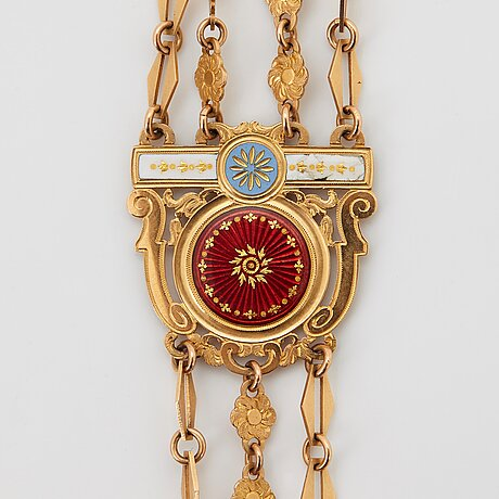 An 18k enameled gold chatelaine, 18th century.