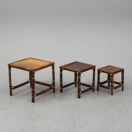 A nest of three bamboo tables, second half of the 20th century.