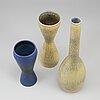Carl-harry stÅlhane, a set of three stoneware vases, rörstrand.