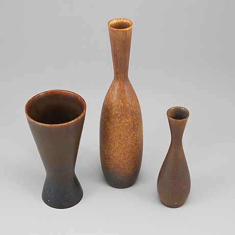 Carl-harry stÅlhane, threee stoneware vases, rörstrand, sweden.