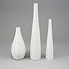 Three 'reptil' stoneware vases by stig lindberg, gustavsberg, sweden, produced 1953-63.