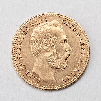 A Swedish 1 Carolin / 10 Francs in gold, with the Swedish and Norwegian King Karl XV, 1868.