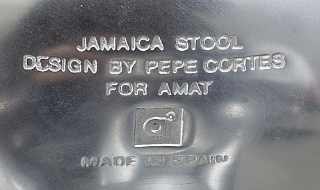 "A pair of pepe cortés barstools ""jamaica"" by amat."
