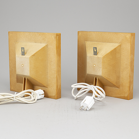 Bent karlby, a pair of 1960's 'kvadrille' wall lamps by bengt karlby.