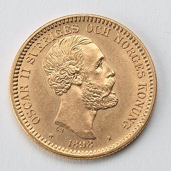 A gold coin, 20 swedish kronor, 1898, weight c 9 g.