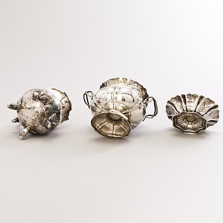 Carl adolf seipel, sockerskål, gräddkanna och saltkar, silver, s:t petersburg 1850-60-tal.
