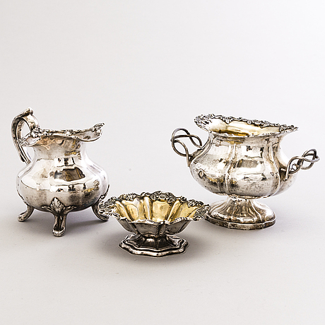 Carl adolf seipel, a silver sugar bowl, cream jug and salt cellar, saint petersburg 1850s-1860s.