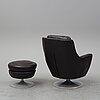 An easy chair and stool, second half of the 20th century.