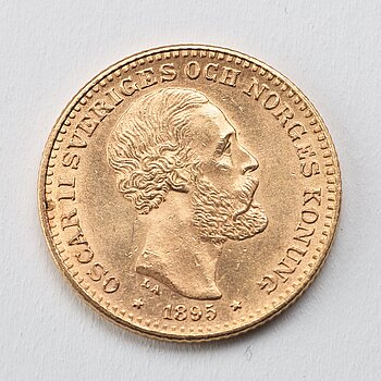 A gold coin, 10 swedish kronor, 1895, weight c 4,5 g.