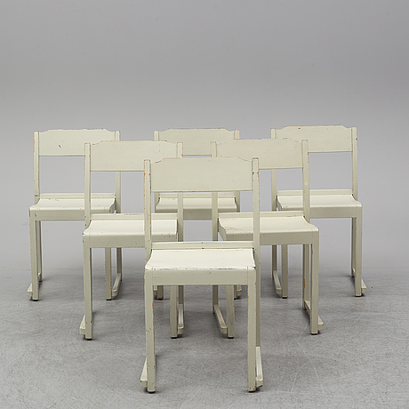 Six painted chairs, mid 20th century.